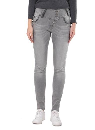 Banny Jeans Gri Düğme Detaylı Slim Fit Kadın Jean Pantolon Gri